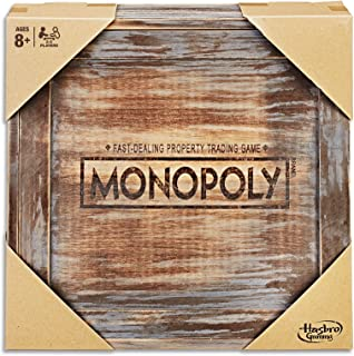 MONOPOLY - Wooden Rustic Edition - 2 to 6 Players - Kids & Adult Board Games - Ages 8+
