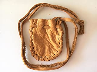 Leather Drawstring Medicine Pouch/Necklace-Native American Pouch Saddle Plain #2