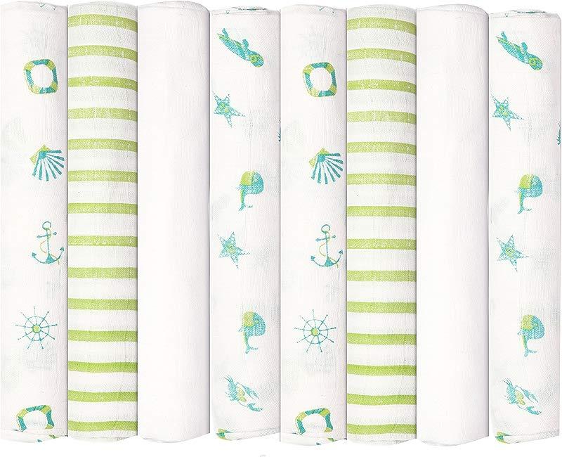 Babykin Organic Cotton Muslin Swaddle Blankets Nautical Fun 8 Piece Pack
