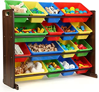 Tot Tutors Discover Collection Supersized Wood Toy Storage Organizer, Toddler, Espresso/Primary