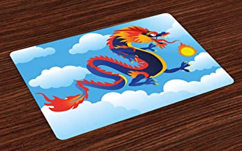 Ambesonne Dragon Place Mats Set of 4, Surreal Folk Tale Creature Spitting Fire on Clouds Chinese Cartoon Art, Washable Fabric Placemats for Dining Room Kitchen Table Decor, Indigo Sky Blue Orange