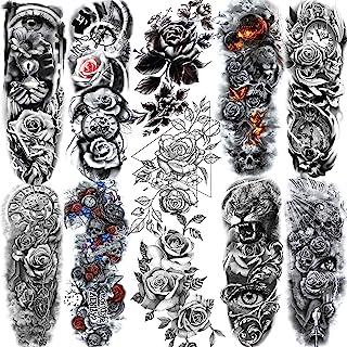 11 Sheets NEZAR Sexy Big Rose Flower Full Arm Temporary Tattoos For Women Compass Clock Fake Tattoo Sticker Long Large Tem...