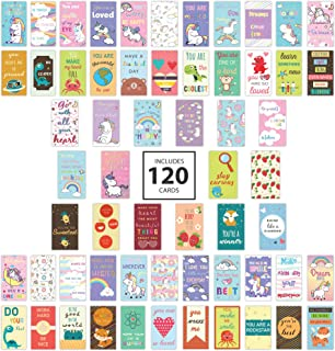 Avamie 120 Pack Lunch Box Notes for Kids- Motivational Inspirational Lunch Box Love Notes 60 Unique Designs 2x3.5 inch Dim...