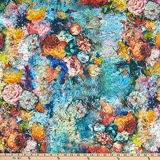 Telio Kimono Uragiri Novelty Knit Floral Print Blue Fabric, Pink/Yellow