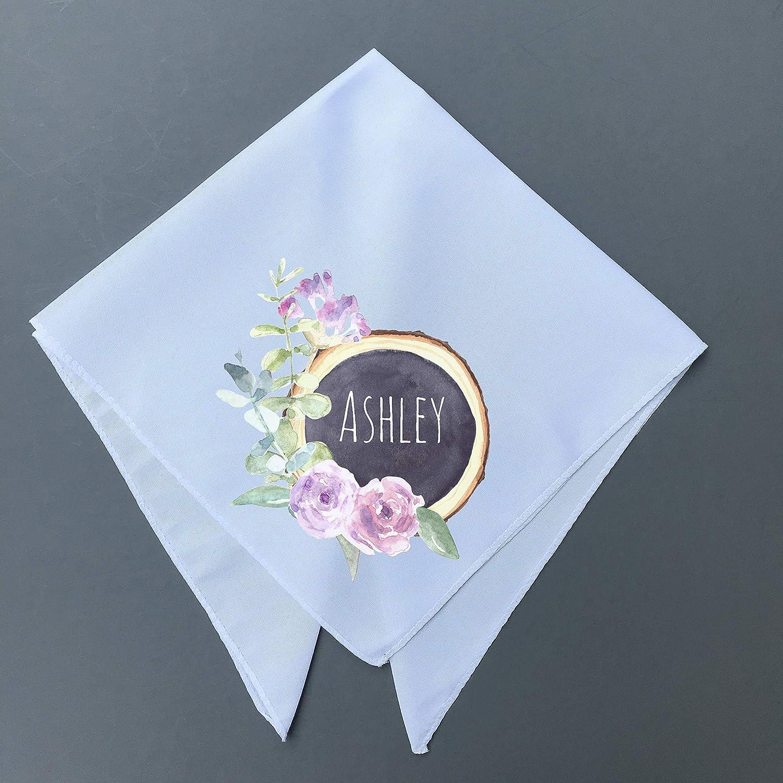 Custom Name Wood Slice Boho Handkerchief 14