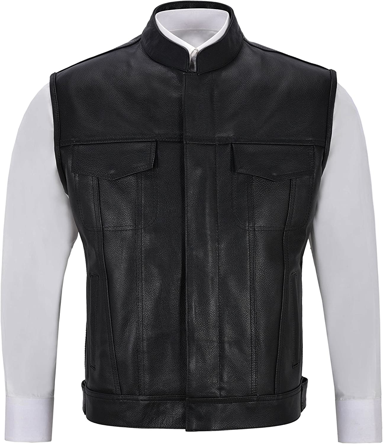 SOA Genuine Leather Motorbike Vest Son's of Anarchy Classic Style Cowhide Leather 1255
