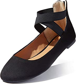 Ballet Flat Shoes Women Women's Classic Ballerina Slip On Flats Elastic Crossing Straps