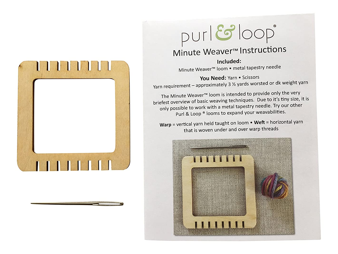 Purl & Loop Minute Weaver Micro Mini Weaving Loom (Medium / 8 EPI)