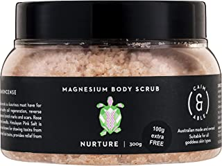 Caim & Able Magnesium Body Scrub 300g NURTURE - Frankincense & Rose - Magnesium Sulphate Hydrating Oils Australian Made & Owned Birthday Gifts For Women Her natural vegan