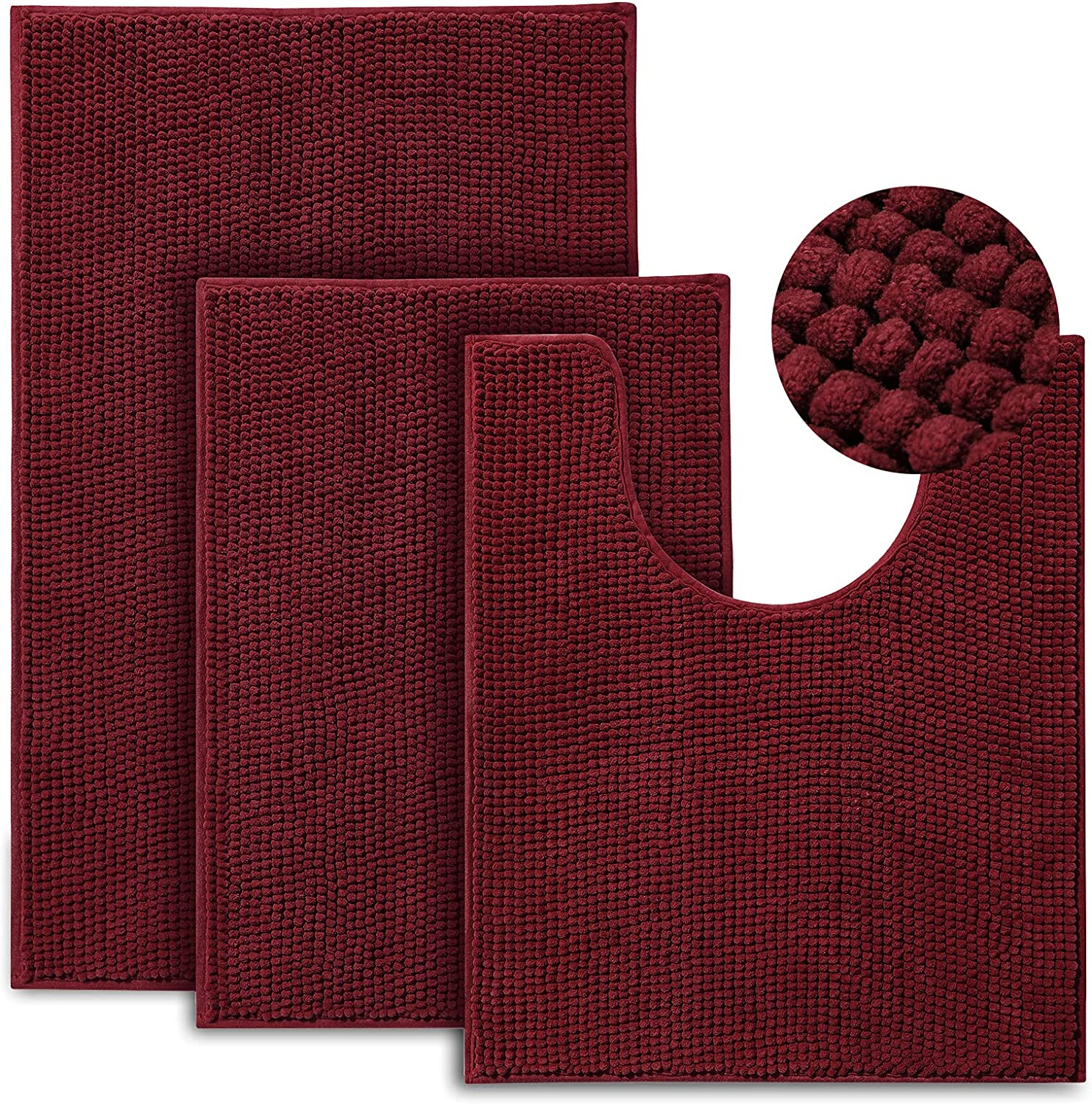 Urvoix Bathroom Rugs Set - 3 Bath Shipping included Non-Slip Ultra Soft Pieces Chicago Mall Mat