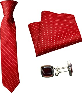 Luxeis Men Premium Neck Tie and Pocket Square with Cufflink Combo Gift Set (Red)