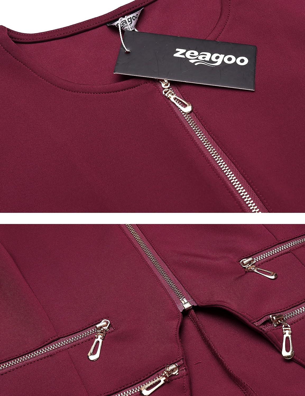 Zeagoo Damen Casual Reißverschluss Cardigan Blazer O Ausschnitt Slim Fitted Büro Jacke Burgunderfarben