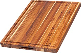 Teakhaus - Rectangle Cutting Board With Hand Grip and Juice Canal - Brown Wooden, 24 x 18 x 1.5 Inches