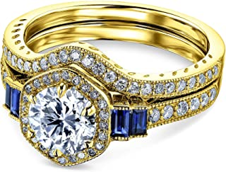 Kobelli 1 3/4 Carat Hexagon Halo Sapphire and Diamond Bridal Set 14k Gold - Multiple Gold Options