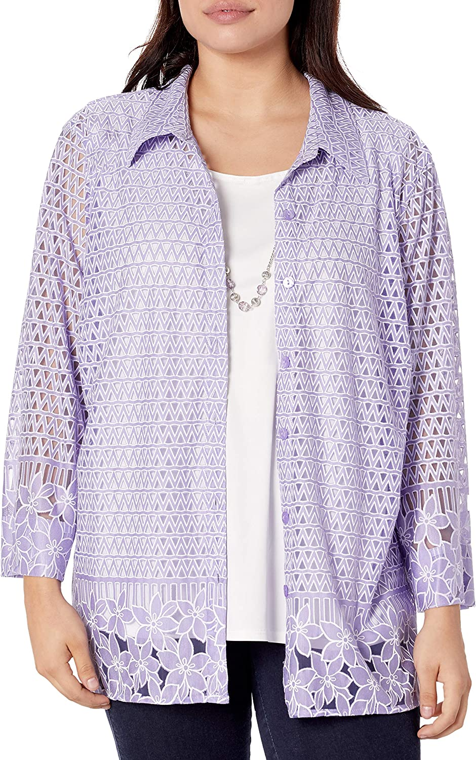 Alfred Dunner Women's Border Burnout Two-for-one Shirt