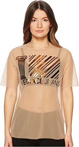 Versace Jeans - Sheer Designed Brand Short Sleeve Top