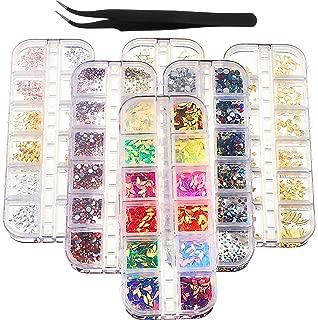 Joyfay 6 Boxes Nail Art Rhinestones Kit 4116 Pieces Beads Luxurious Nail Crystals Nail Studs and Tweezers, Multicolor Nail Studs Rhinestones for Nail Art Decorations 3D Beads Diamonds Flat Bottom