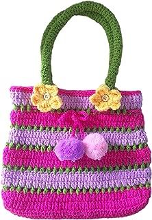 Pom Pom Handbag, Little Girls Boho Purse, Pink & Purple, Soft Handmade Crochet, Drawstring Closure, Flowers Front & Back, 6, 5, 4 Year Old Girl Gifts, So Beautiful & Unique ... Just Like Her!
