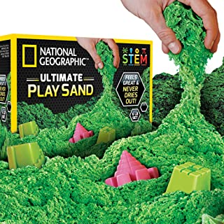 NATIONAL GEOGRAPHIC Play Sand - 6 LBS of Sand with Castle Molds (Green) - A Kinetic Sensory Activity