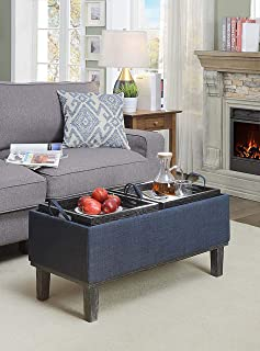 blue ottoman with tray