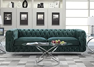 Iconic Home Modern Contemporary Tufted Velvet Down-Mix Cushions Acrylic Leg Sofa, Green