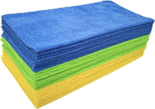 Polyte Microfiber Cleaning Cloth Ultrasonic Cut Edgeless, 14 x 14 in (36 Pack, Blue,Green,Yellow)