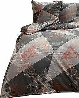 fleece bettwäsche Leonado Vicenti Warme Winter Bettwäsche Thermo Fleece flauschig Schlafzimmer Set Bezug Kissen mit Reißverschluss, Farbe:Silber Geometrisch Modern, Maße:135 x 200 cm