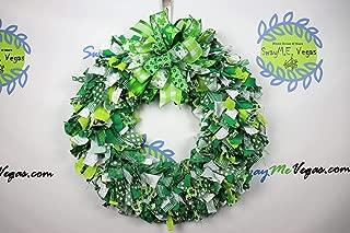 St. Patricks Day Rag Wreath, St. Patty's Day Fabric Wreath, Clover Wreath, Leprechaun Wreath, Shamrock Wreath