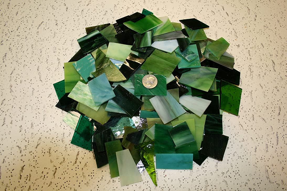 Green Tones Mix Value Pack - Stained Glass / Mosaics (3 Pounds)