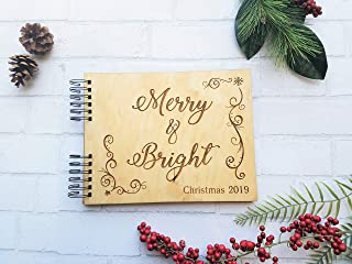 Merry & Bright Personalized Christmas Card Photo Album or Guest Book
