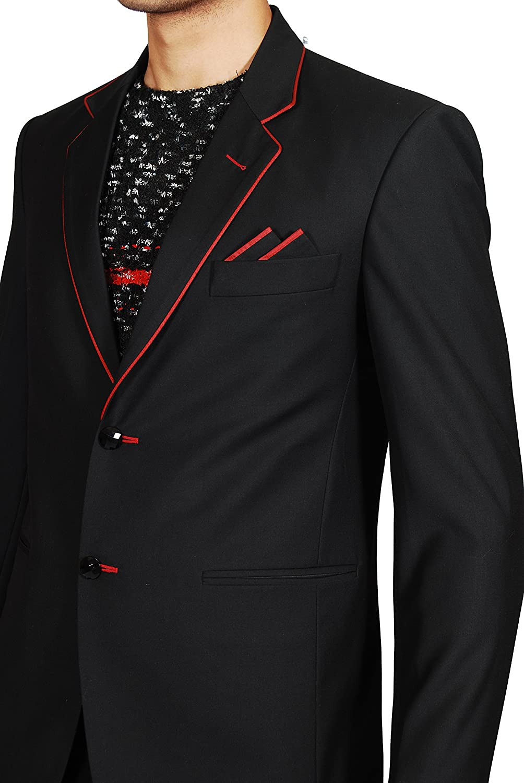Notch Lapel Style Trendy Black Blazer for Men