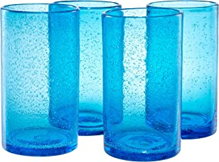 Artland Iris Highball Glasses, Turquoise, Set of 4