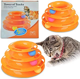 Ozoosh Pets Cat Tracks Cat Toy - Fun Levels of Interactive Play for Cats - Circle Track with Moving Balls Satisfies Kitty'...