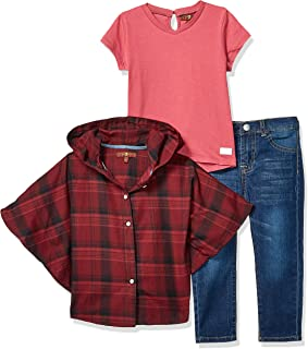 Girls' Toddler 3 Piece Poncho, T-Shirt and Jeans Set