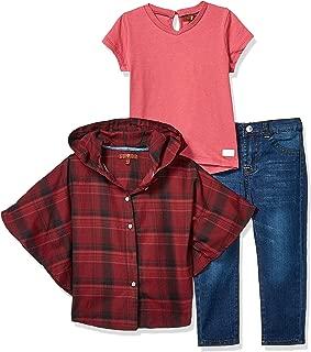 7 For All Mankind 女童 3 件套斗篷,T 恤和牛仔裤套装