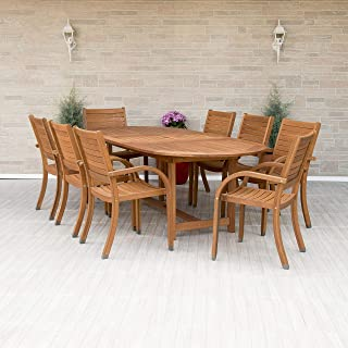 Amazonia Arizona 9 piece Oval Outdoor Dining Set Eucalyptus Wood | Durable and Ideal for Patio And Backyard, Light Brown
