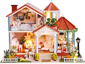Rylai Architecture Model Building Kits with Furniture LED Music Box Miniature Wooden Dollhouse GlassTime Series 3D Puzzle Challenge