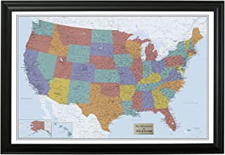Personalized Blue Oceans USA Push Pin Travel Map with Black Frame and Pins - 27.5 inches x 39.5 inches