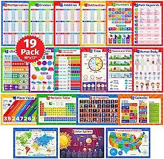 19 پوستر آموزشی برای کودکان - جدول نمودار ضرب ، جدول تناوبی ، نقشه ایالات متحده آمریکا ، نقشه جهانی ، سیستم خورشیدی ، روزهای هفته ، بخش ، اضافات ، لوازم مدرسه ، دکوراسیون کلاس - 19x13