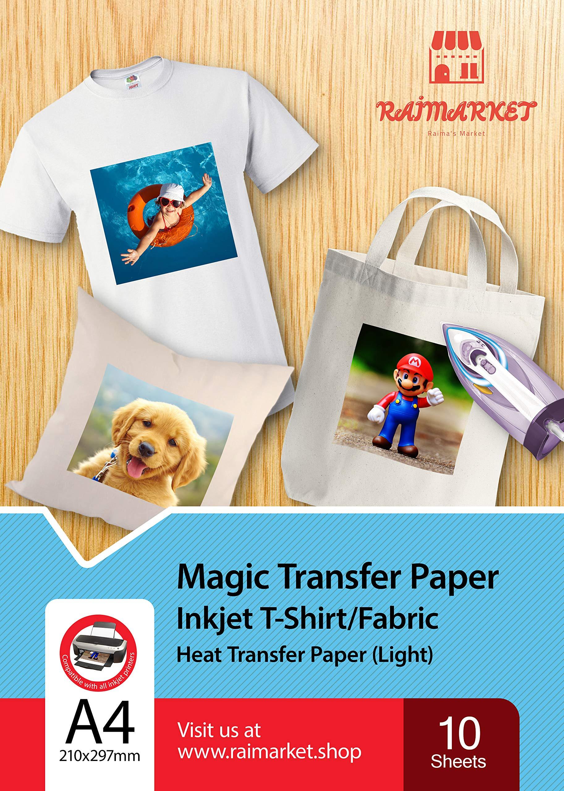 Hierro sobre papel de transferencia para tela claras, blancas y transparente (Magic Paper) de Raimarket   10 hojas   Transferencia de hierro A4 para inyección de tinta en papel / camisetas: Amazon.es: