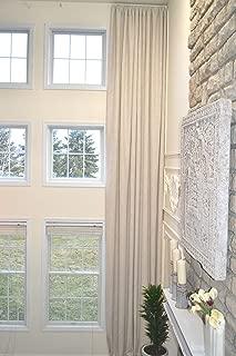 ikiriska Extra Long Velvet/CHENELLE Curtain Wide drape12 13 14 15 16 17 feet Brown Green Gray Wine Beige Custom Made 2 Story Free Swatches (Beige, 168