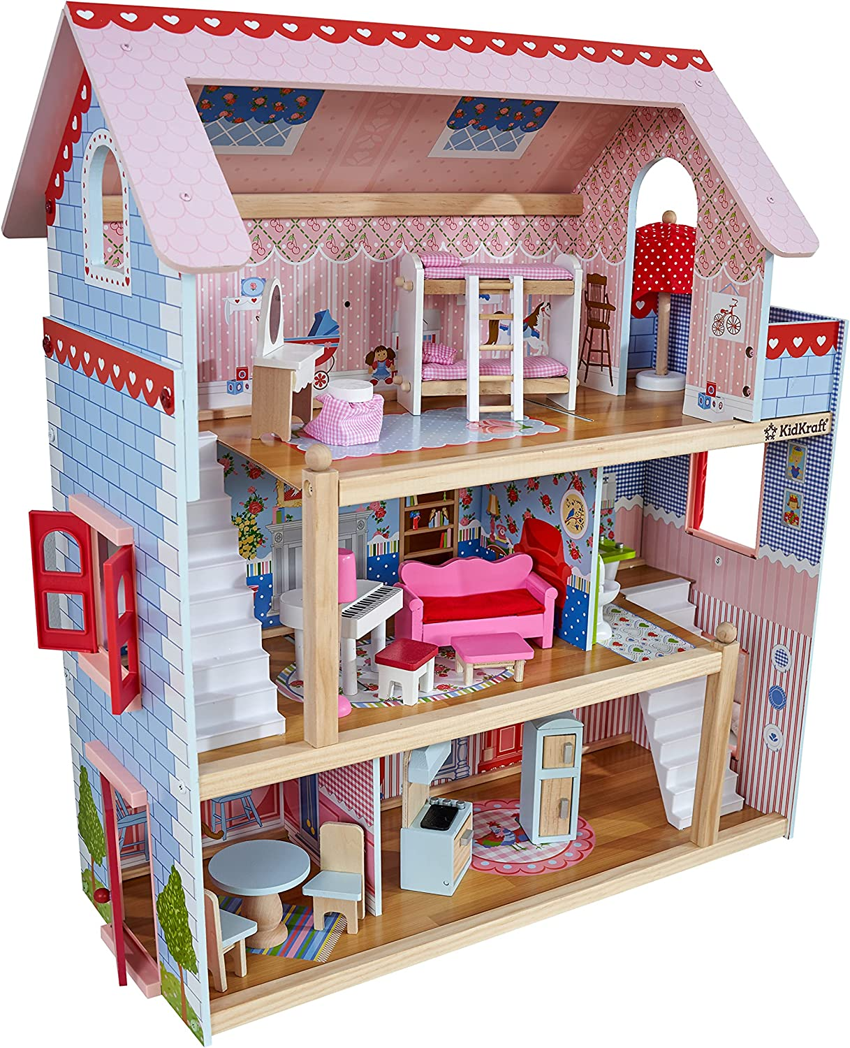KidKraft Chelsea Doll Cottage Wooden Dollhouse with 16 Accessories, Multi