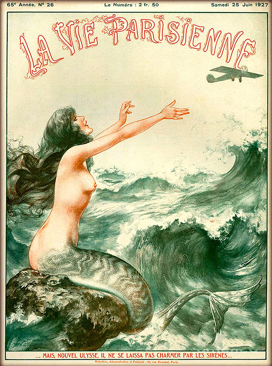 1927 La Vie Parisienne The Mermaid and the Airplane French Nouveau from a Magazine France Travel Advertisement Collectible Wall Decor Picture Art Poster Print. Poster measures 10 x 13.5 inches