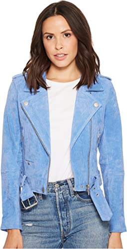 Real Suede Moto Jacket in Hydrangea