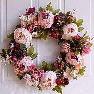 Dseap Wreath - Peony Flower Wreath, Floral Wreath, Door Wreaths for Front Door, 17-Inches, Pink & Purple