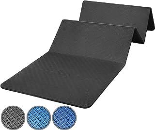 POWRX Gymnastikmatta Vikbar inkl. träning PVC-fri 180 x 60 x 1,5 cm Blå eller svart   Vikbar Yogamatta Träningsmatta Pilat...