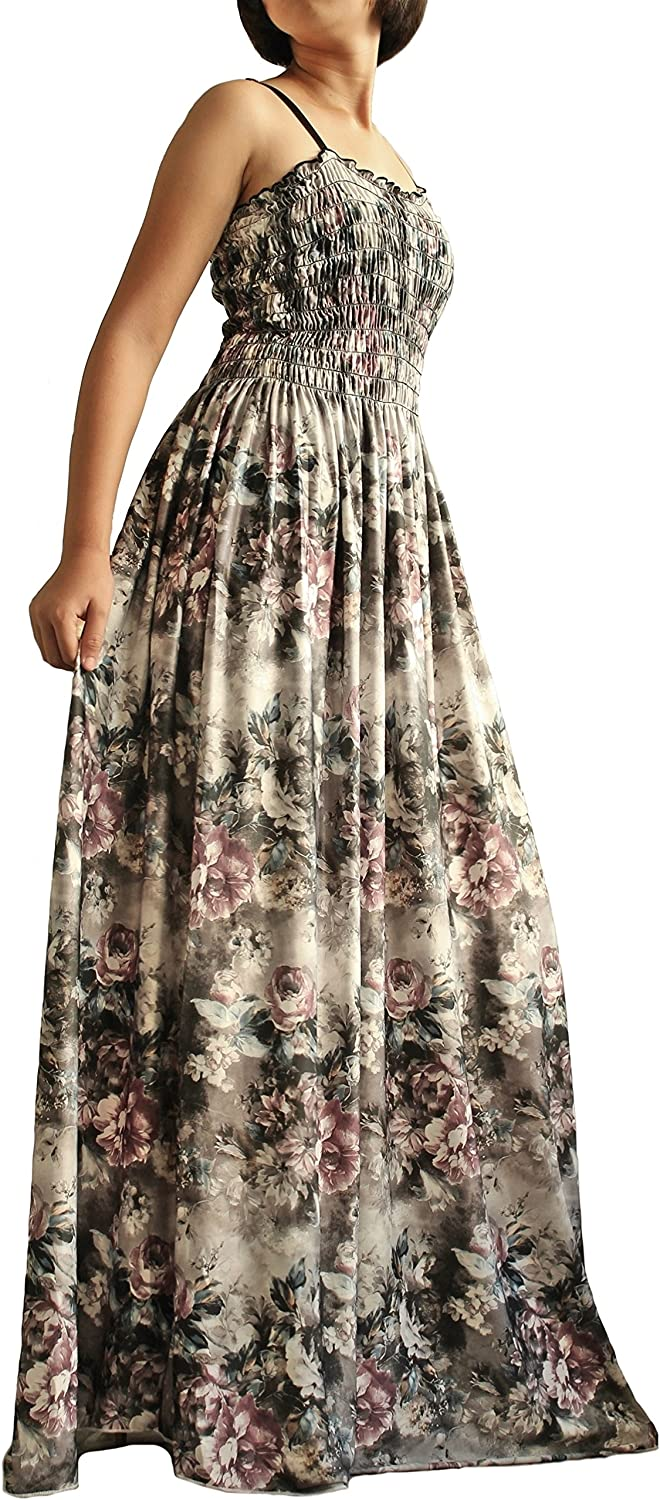 The WomenLand Women Long Maxi Plus Size Dress Summer Evening Party Wedding Boho Prom Classic Floral Vintage Look