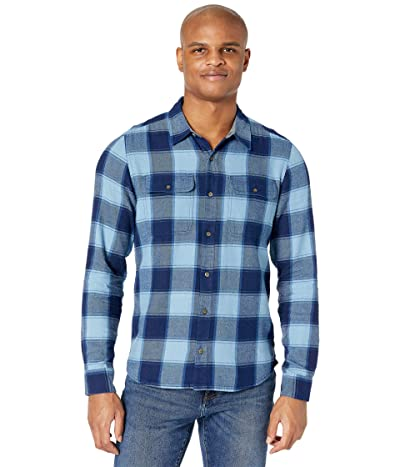 Toad&Co Indigo Flannel Slim Long Sleeve Shirt (Medium Indigo Windowpane) Men