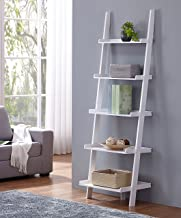 White Finish 5 Tier Bookcase Shelf Ladder Leaning - 72