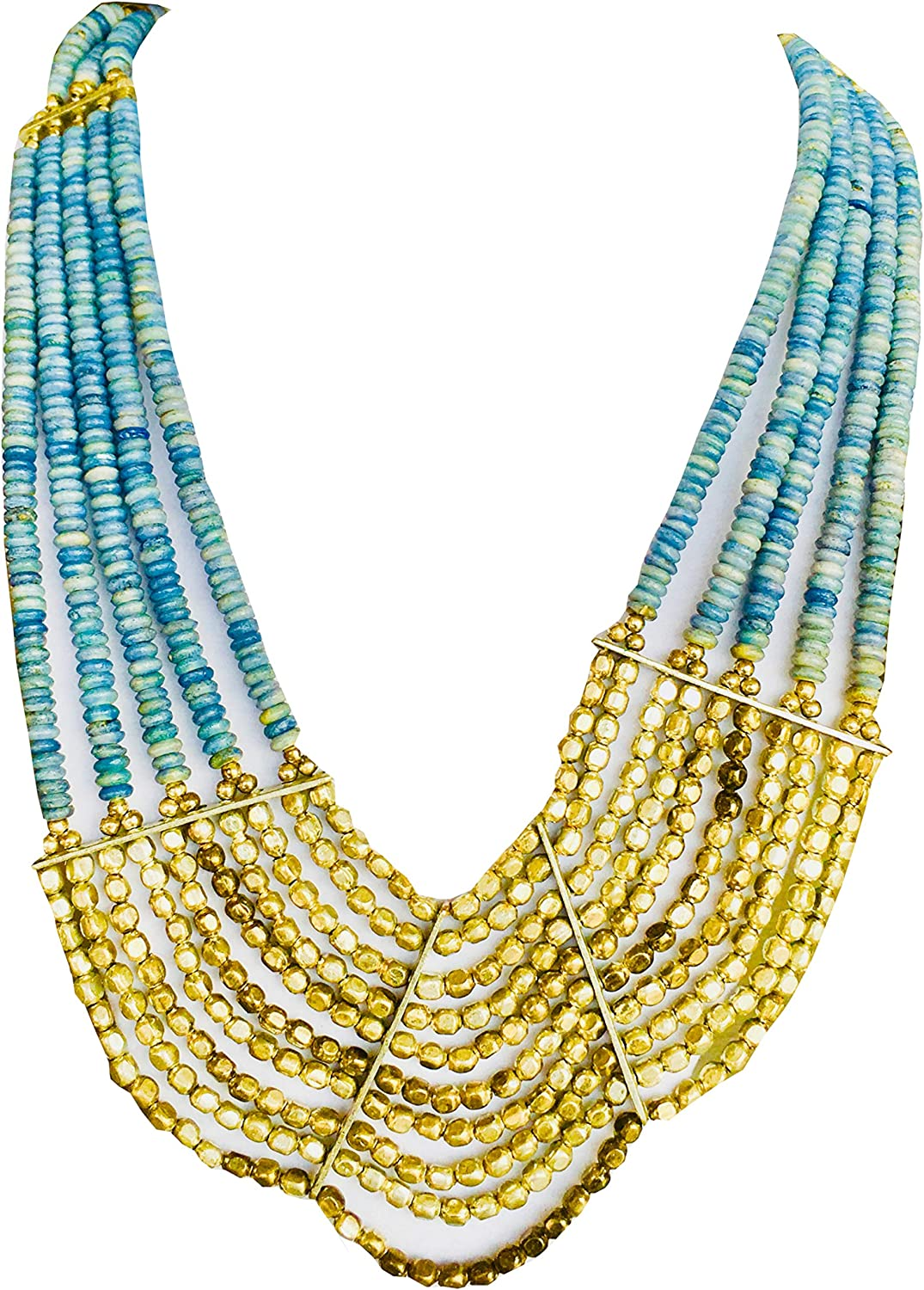 Elegant Multi Strand Necklace Light Blue Beads & Fine Art - Comes With Gift Box